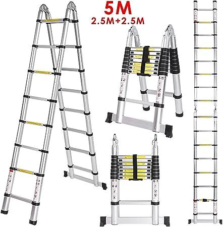 Cooshional 5m Escabeau 8 8 Marches Toit échelle Télescopique Pliable En Alu Extension Ladder