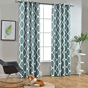 Melodieux Moroccan Fashion Room Darkening Blackout Grommet Top Curtains for Living Room, 52 by 63 Inch, Dusty Blue (1 Panel)
