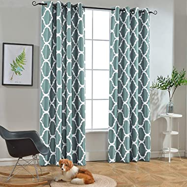 Melodieux Moroccan Fashion Room Darkening Blackout Grommet Top Curtains, 52 by 84 Inch, Teal (1 Panel)