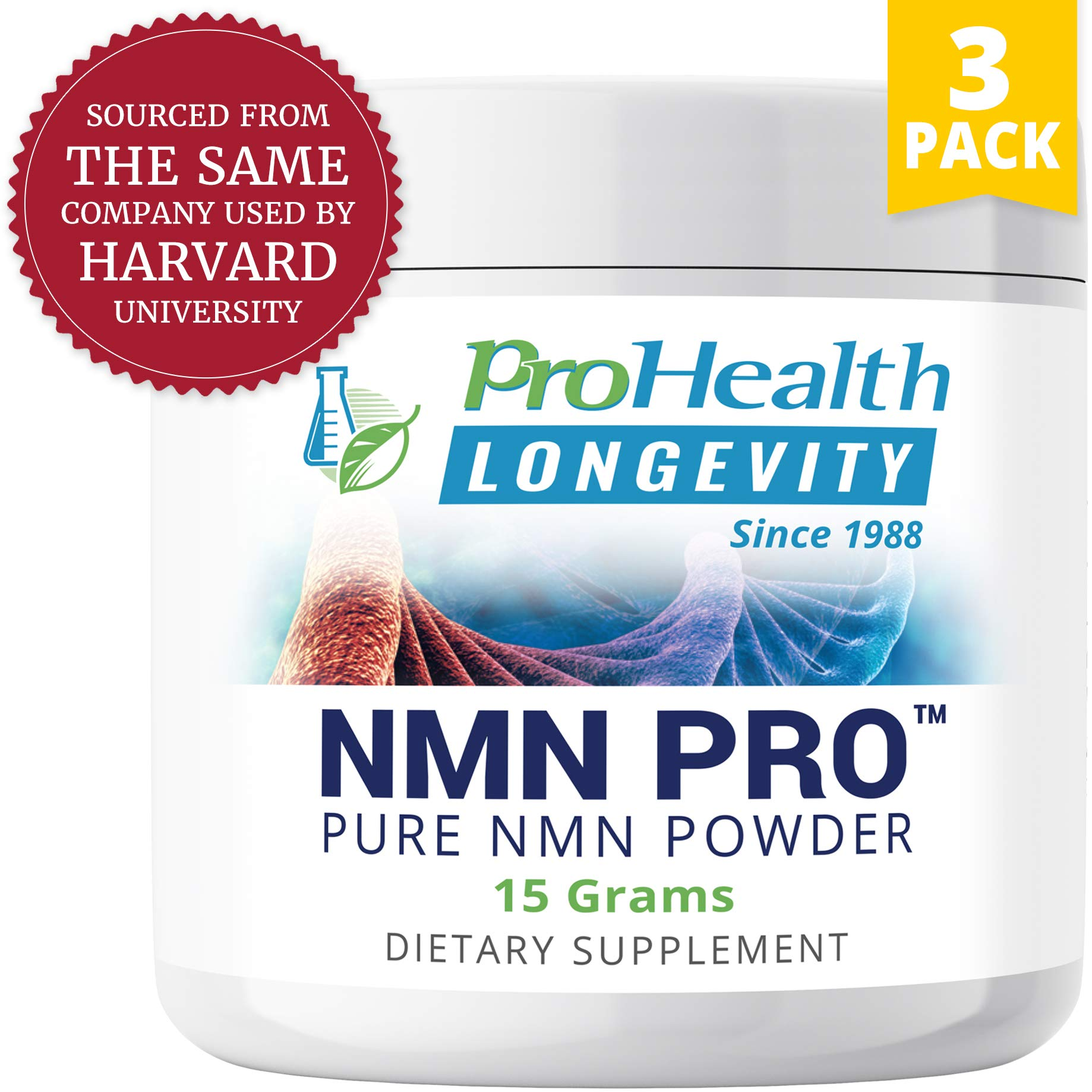 ProHealth NMN Powder 3-Pack (15 Grams per jar) Nicotinamide Mononucleotide | NAD+ Precursor | Supports Anti-Aging, Longevity and Energy | Non-GMO by ProHealth