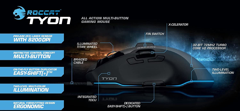 Roccat Tyon - Ratón Gaming (Sensor Láser 8200 DPI, 14 teclas, interruptor análogo de pulgar) blanco: Amazon.es: Informática