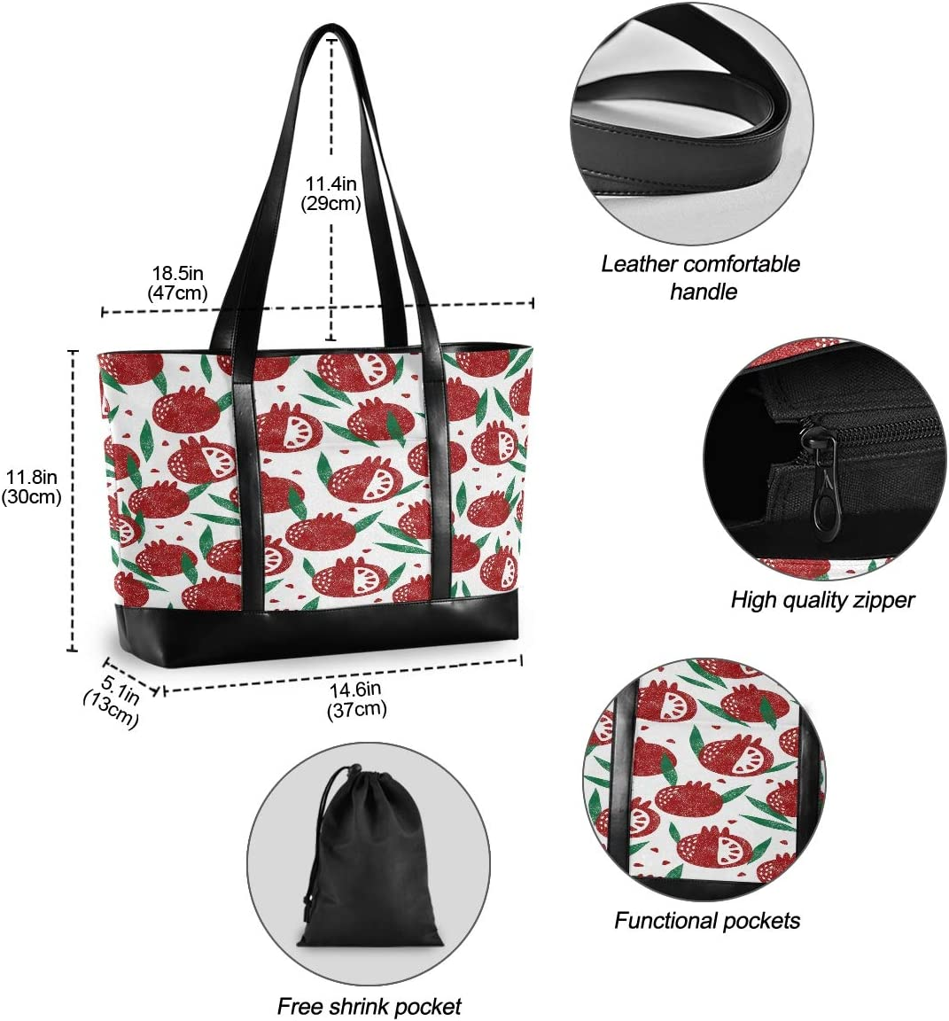 Large Woman Laptop Tote Bag Seamless Pattern Pomegranate Fruit Canvas Shoulder Tote Bag Fit 15.6 Inch Computer Ladies Briefcase for Work School Outdoor Activities