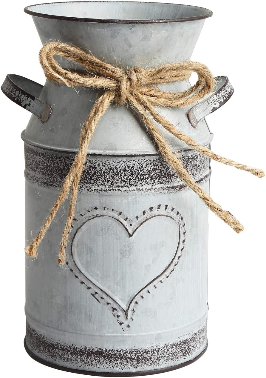 APSOONSELL French Style Shabby Chic Decor Grey Farmhouse Decor Metal Flower Vase Galvanized Bucket for Kitchen, Bathroom, Sparklers for Weddings