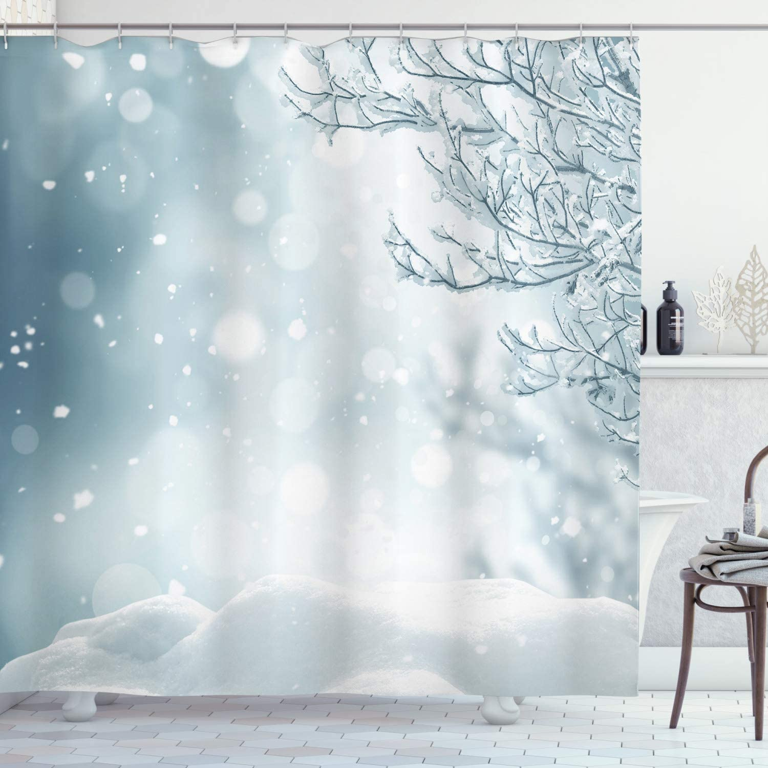 Ambesonne Winter Shower Curtain, Christmas Image Snow and Frosted Tree Snowflakes Winter Season Illustration, Cloth Fabric Bathroom Decor Set with Hooks, 70