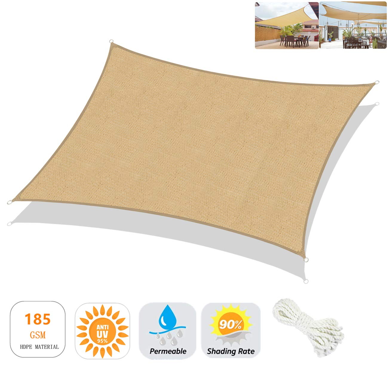 Sekey 10 x13 Rectangle Sun Shade Sail Canopy HDPE Breathable Permeable UV Block Weather Resistant Tear Durable, Perfect for Outdoor Patio Garden Yard Backyard, Sand