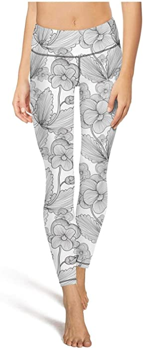 06685e18960fe1 juiertj rt Long Running Black Wild Faux Pansy Edible Leggings Women's  Breathable Activewear Pants for Yoga
