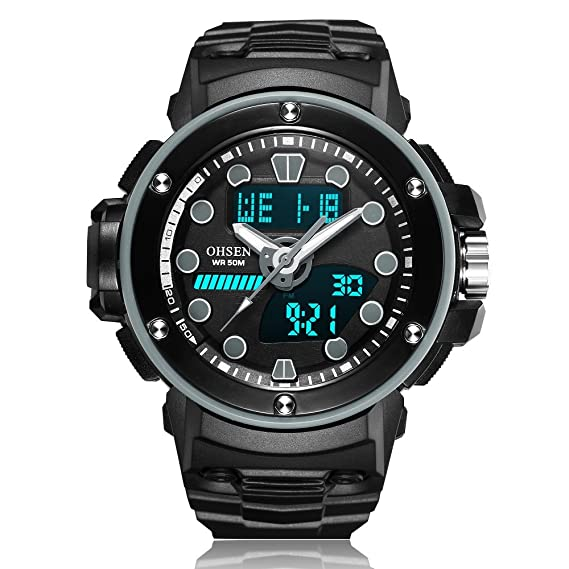 HWCOO AD1712 hombres y mujeres deportes y ocio multifuncional pantalla digital reloj impermeable movimiento (Color