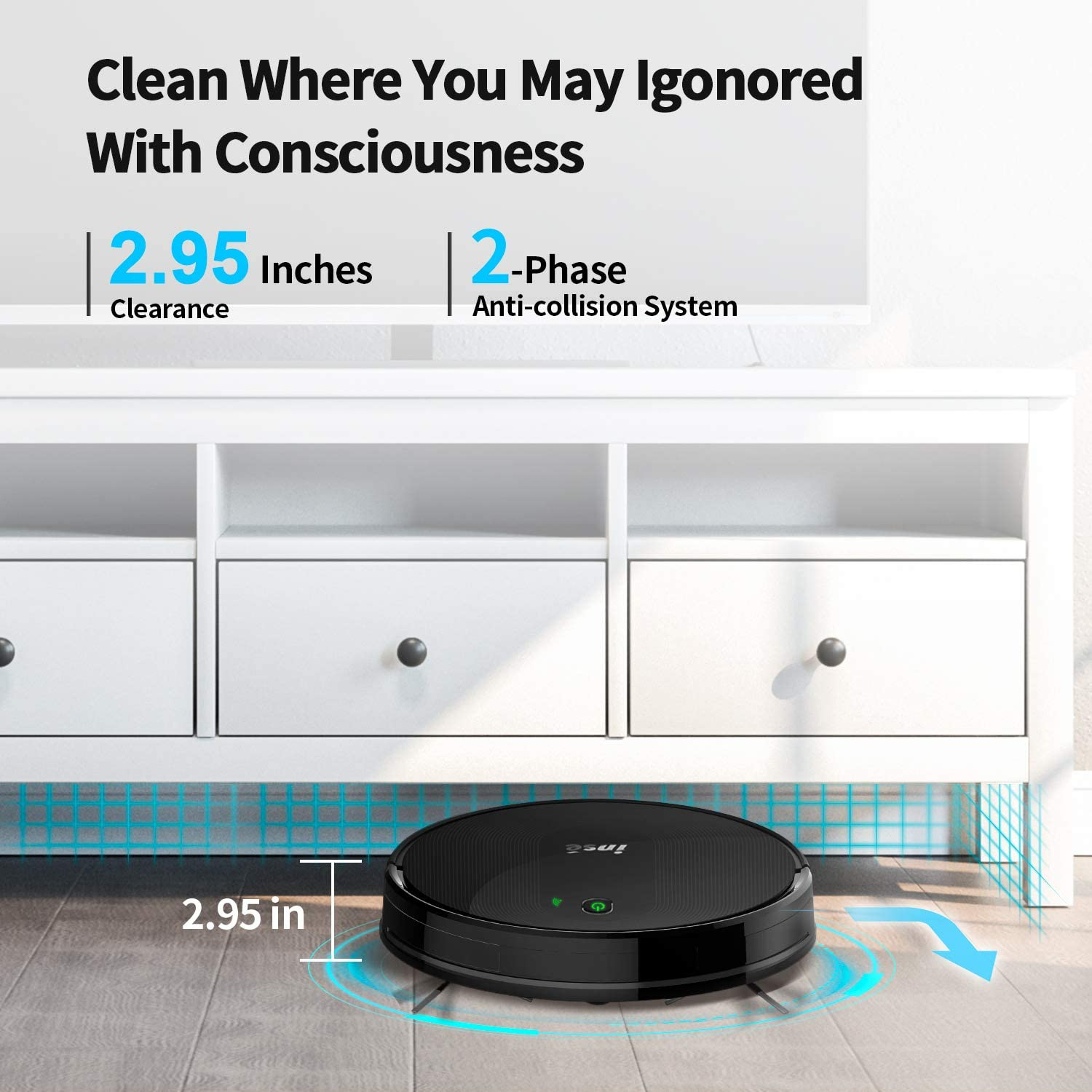 Works with Alexa//Google Home and WiFi Connected INSE Robot Vacuum Cleaner with Auto-Recharge and 1800Pa Max Suction Power 2 of Boundary Strips for Pet Hair and Hard Floor Low//Med Pile Carpets E5