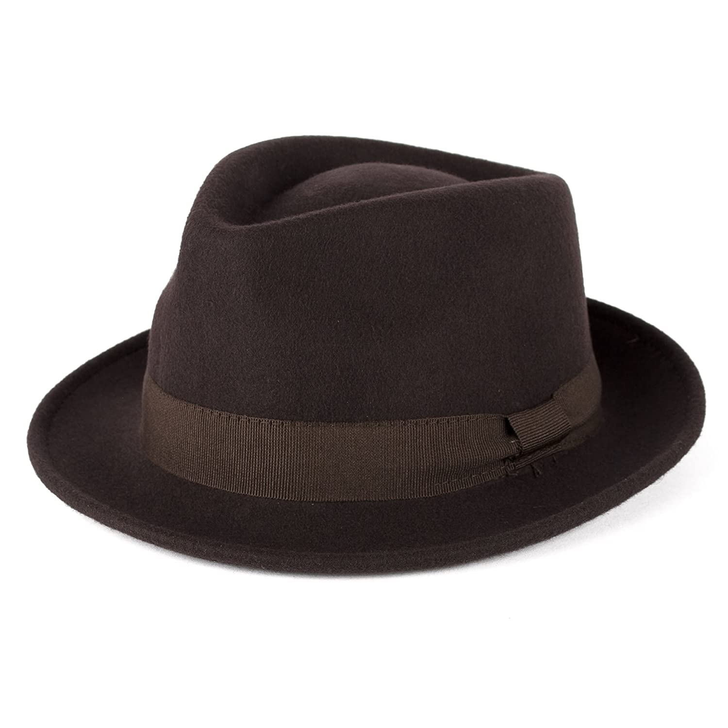 Wool Trilby Hat with Grosgrain Band Handmade in Italy