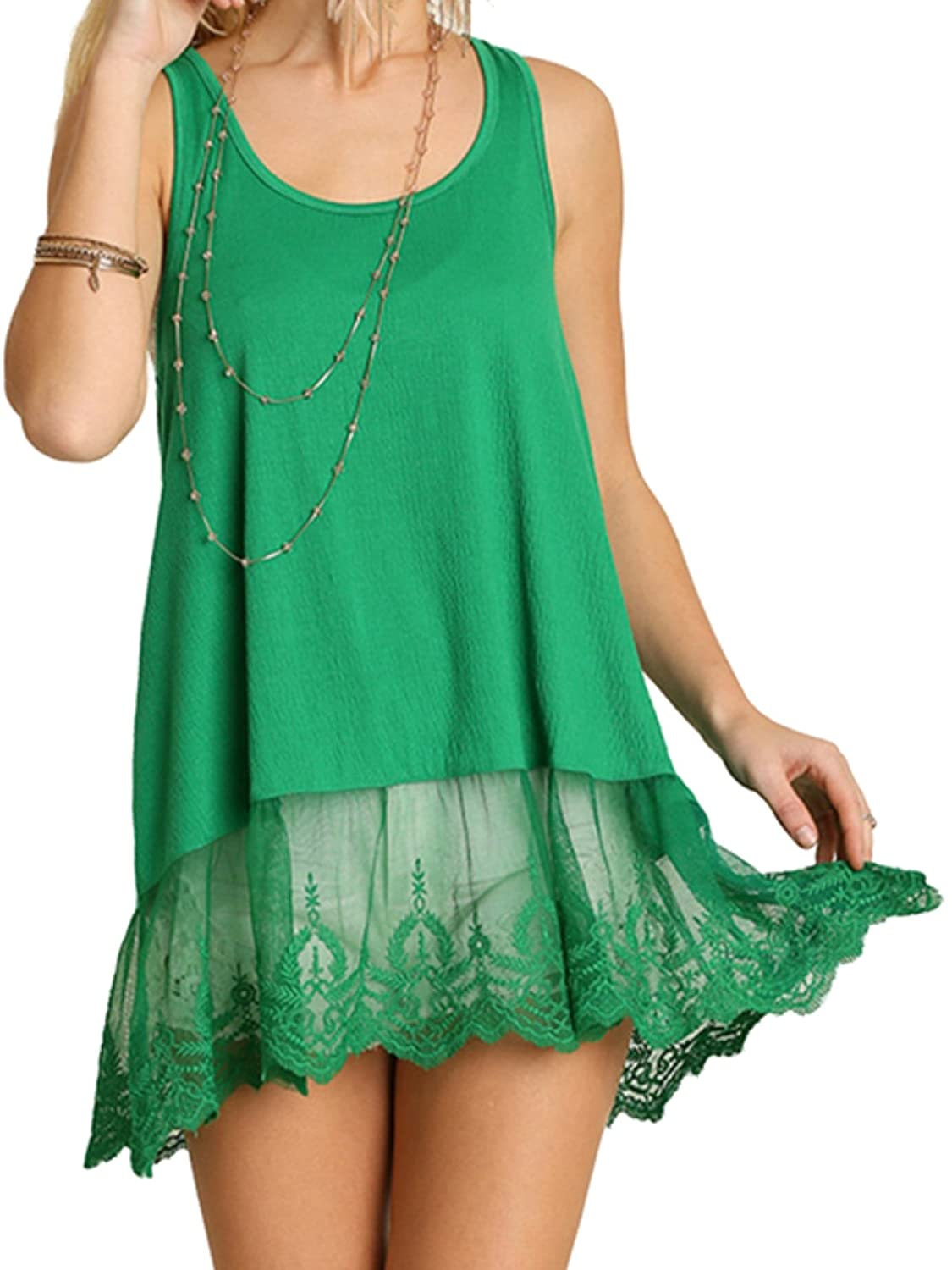 Green Umgee USA Women's Sleeveless Lace Tank Vintage Boho
