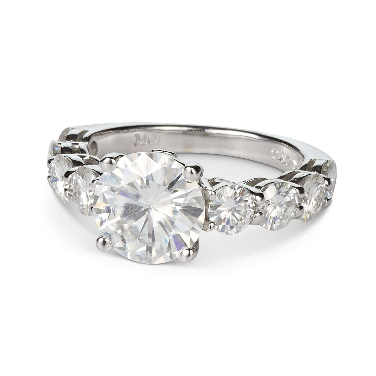 Forever One Round 9.0mm Moissanite Ring-size 7, 4.58cttw DEW (G-H-I) By Charles & Colvard