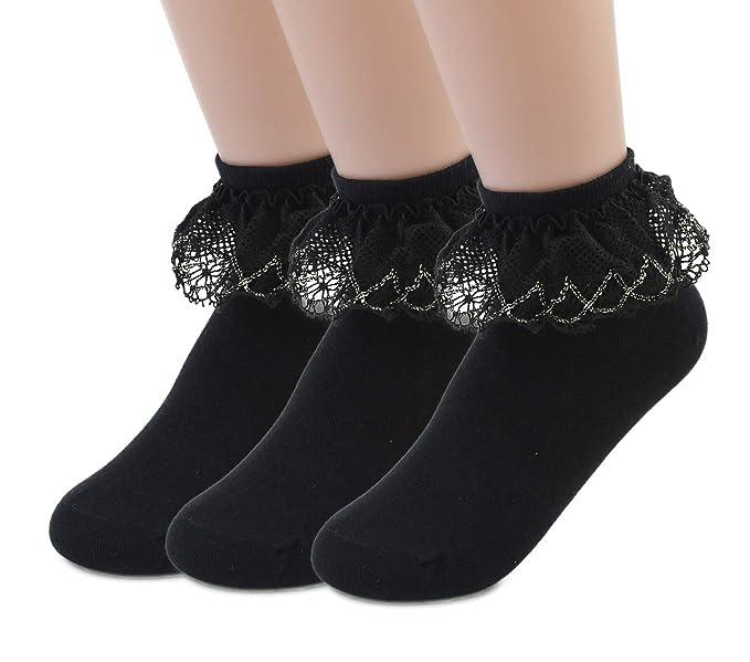 b1798c043 VIVIKI Women Lace Cotton Frilly Ruffle Socks Ankle Socks 3 - Pack (Black - 3