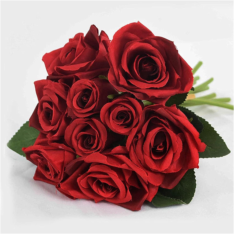 Flores Artificiales 9pcs / Set 4cm 7 cm Seda Rosa Flor Ramo de Flores Reales táctiles Falsos para la decoración de la Boda Novia con Ramo de Ramo de jardín (Farbe : B11)
