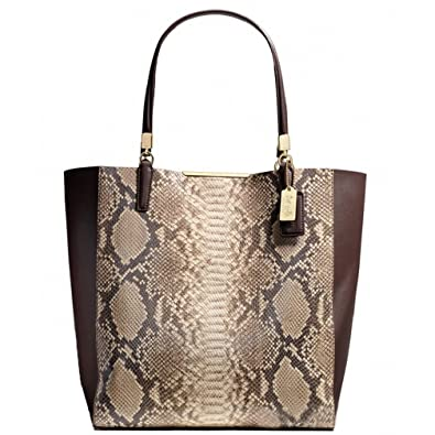 a5cfeaf242af Amazon.com  Coach Madeline Python Embossed Leather North South Bonded Tote  28294 Brown Multi  Shoes
