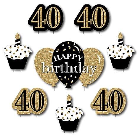 Amazon Com Adult 40th Birthday Gold Yard Sign Outdoor Lawn