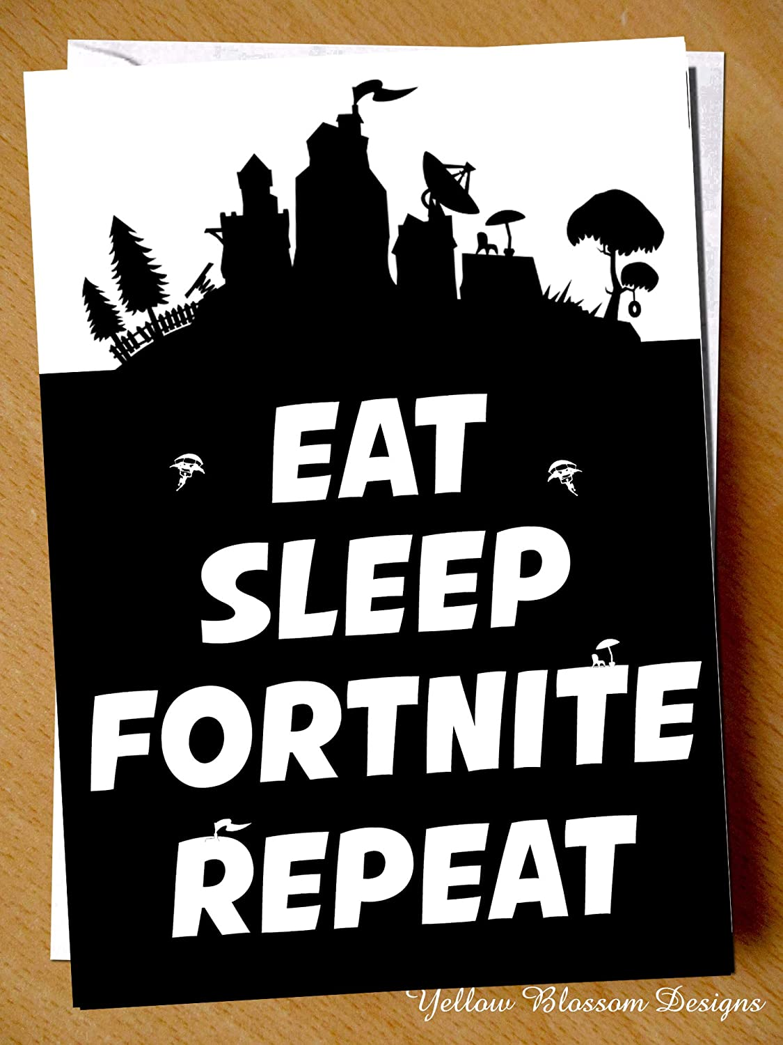 Birthday Card Teenager Playing Gaming Eat Sleep Fornite Repeat Novelty Xbox Computer Playstation PS Funny Fun