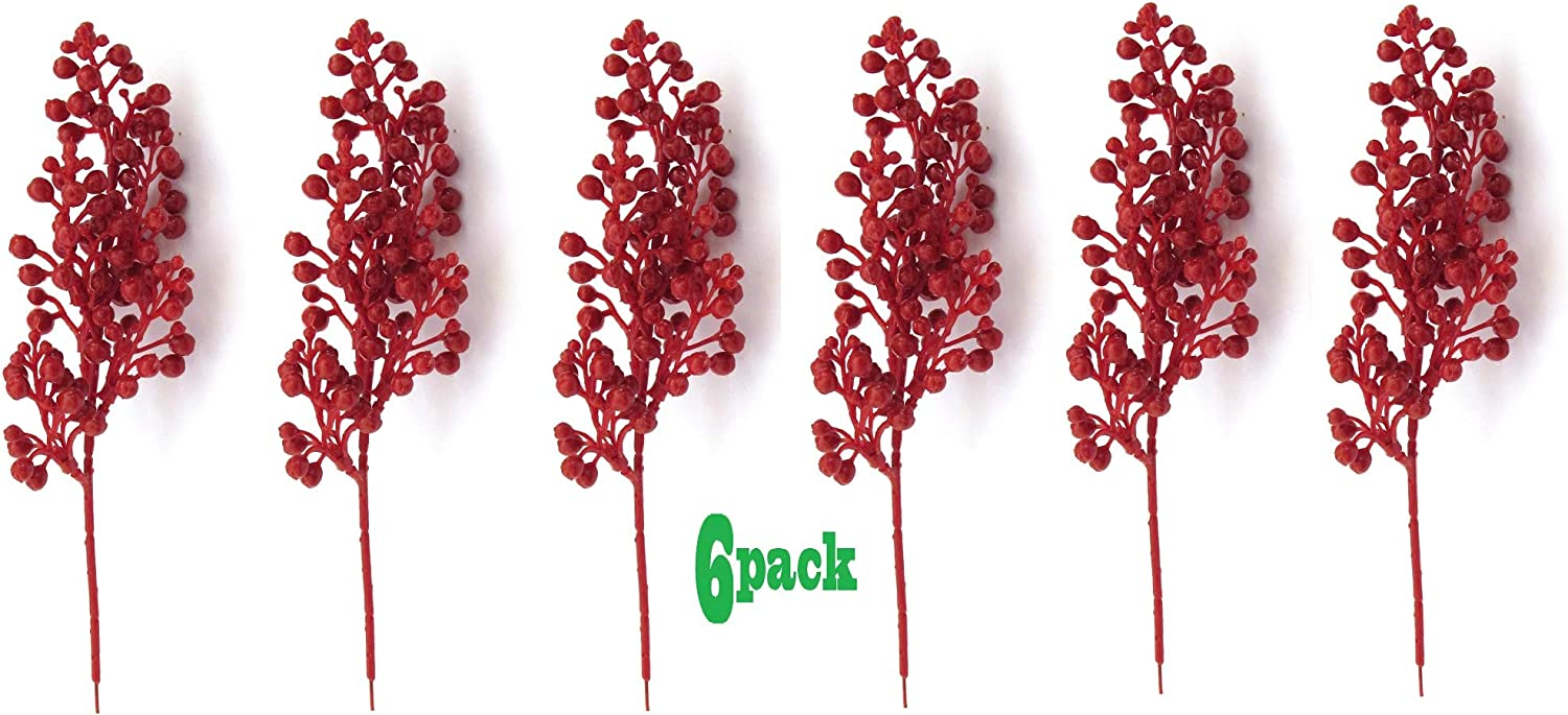 Christmas Red Berry Picks - Red Berries for Christmas Tree, Crafts, Floral Arrangements and Wreath Decor - Set of 6