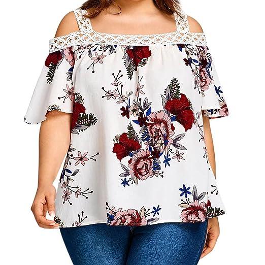 e0b4232f7 ILUCI Women's Tops Floral Print Plus Size T-Shirt Short Sleeve Casual V-Neck