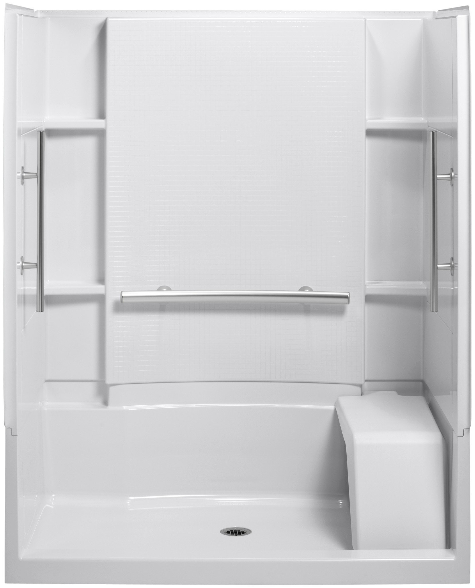Sterling Plumbing 72290103-N-0 Accord 36-Inch x 60-Inch x 74-1/2-Inch Shower Kit with Seat and Grab Bars, White