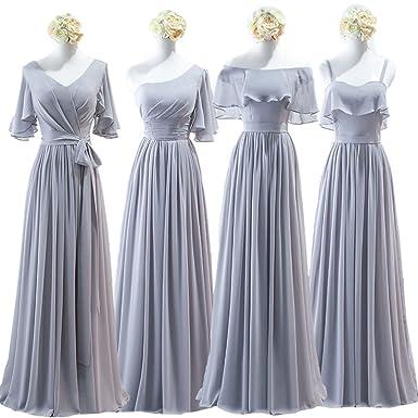 06ca7d331a703 cnstone ブライズメイド ドレス グレー パーティードレス Aライン 編み上げ レディース ワンピース 花嫁の介添え 結婚