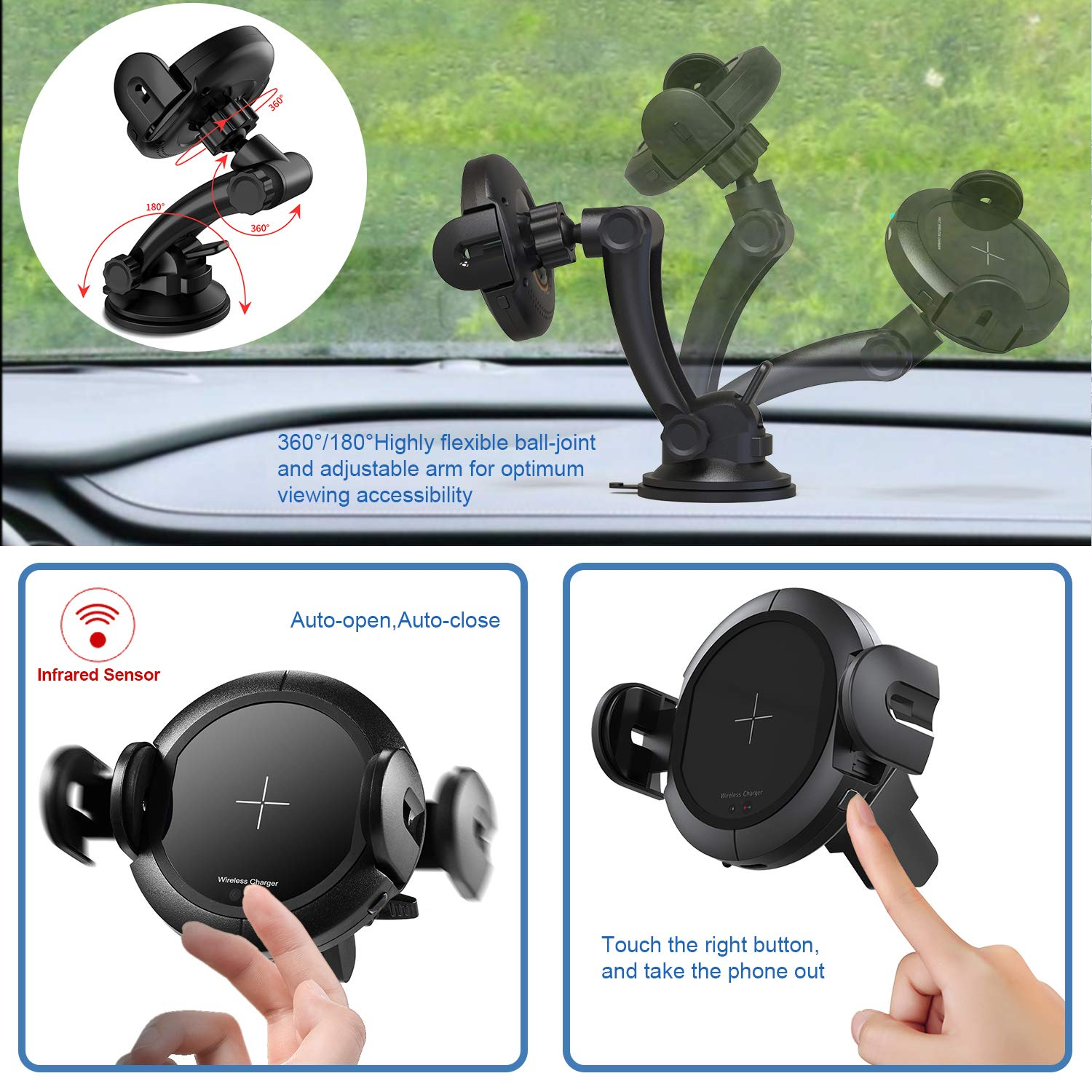 KOAKUMA Wireless Car Charger Mount, Automatic Clamping Car Mount Air Vent Phone Holder with 15W QI Fast Charging Compatible with iPhone X/XS Max/XS/XR/8/8 Plus, Samsung Galaxy S10/S10+/S9/S9+/Note 9/8 by KOAKUMA (Image #3)
