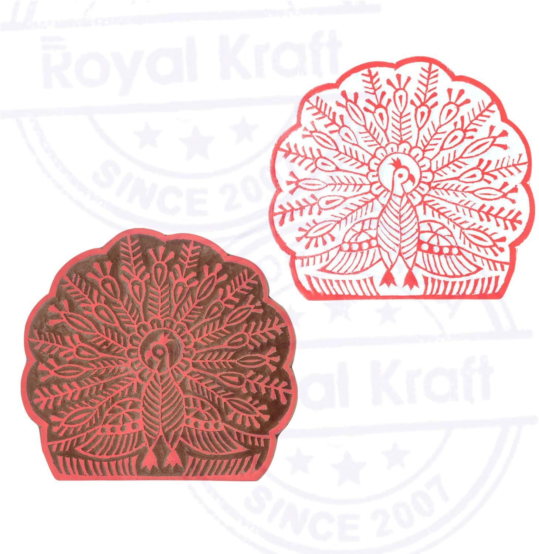Royal Kraft 5 Inch Traditionell Holzbl/öcke Gro/ß Runden Blumen Entw/ürfe Gro/ßer Drucken Stempel