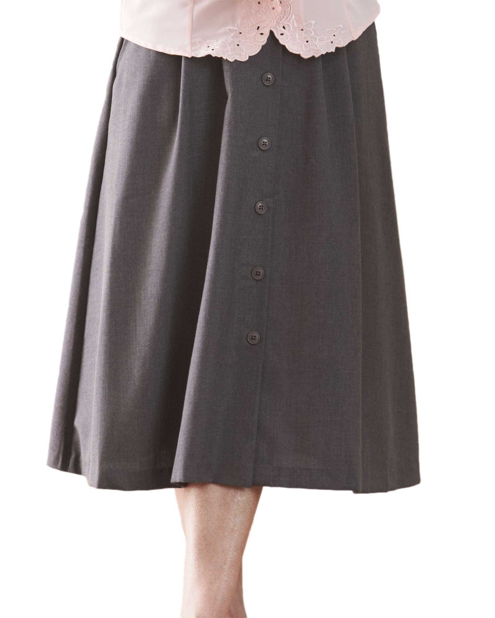 Swann Button Front Pleated Skirt, Heather Gray, 18