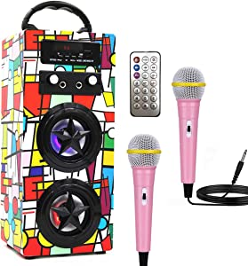 Kids Bluetooth Karaoke Machine with 2 Microphones, Wireless Rechargeable Remote Control Portable Karaoke Music MP3 Player Loudspeaker with Microphones for Kids Adults Home Party (Red Grid Pattern)