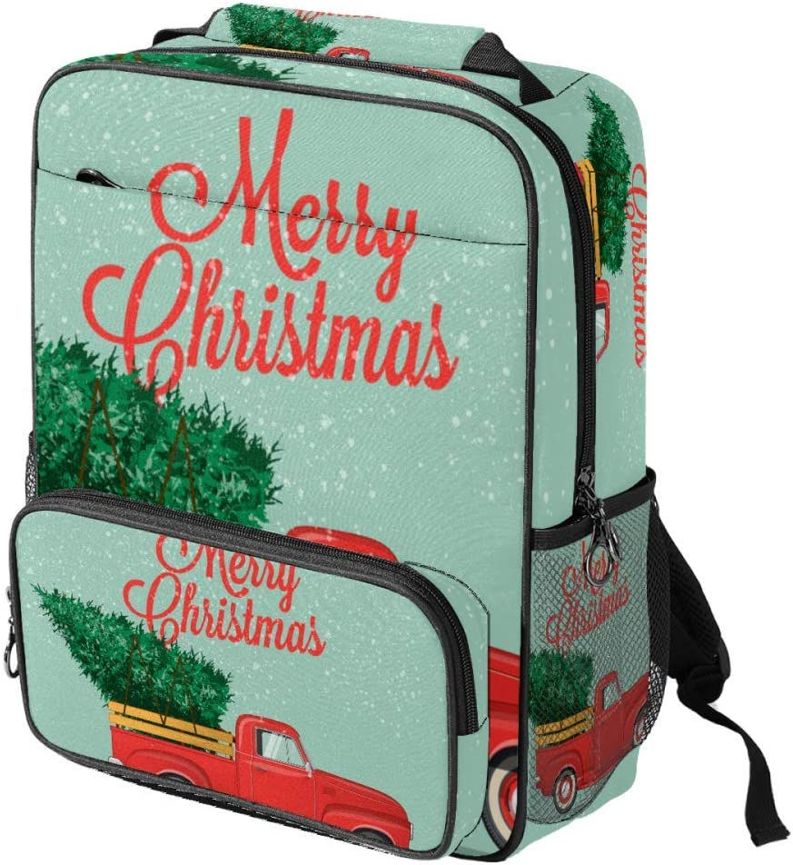 Big Capacity School Campus Travel The Red Car with The Christmas Tree/Laptop Backpack for Kids Teen Girls Boys Women Men