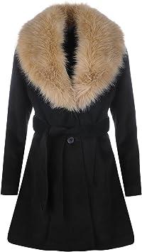 Golddigga De Pelo Cuello Chaqueta Para Mujer Negro Abrigo Ropa Chaquetas Y Abrigos Negro Medium Amazon Es Deportes Y Aire Libre
