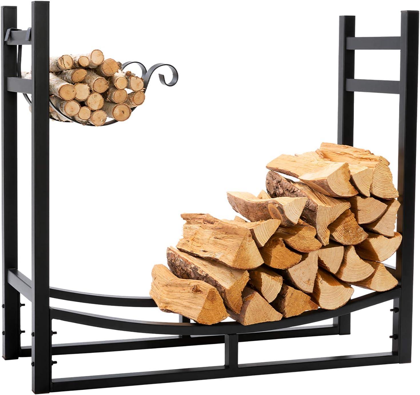 Doeworks Heavy Duty Firewood Racks 3 Feet Indoor Outdoor Log Rack With Kindling Holder 30 Inch Tall Black Home Improvement