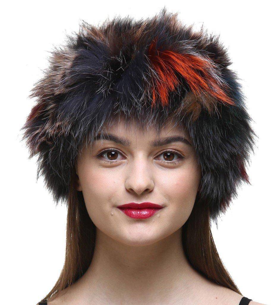 Vogueearth Women'Real Fox Fur Winter Headband Neck Warmer Scarf Multicoloured-1