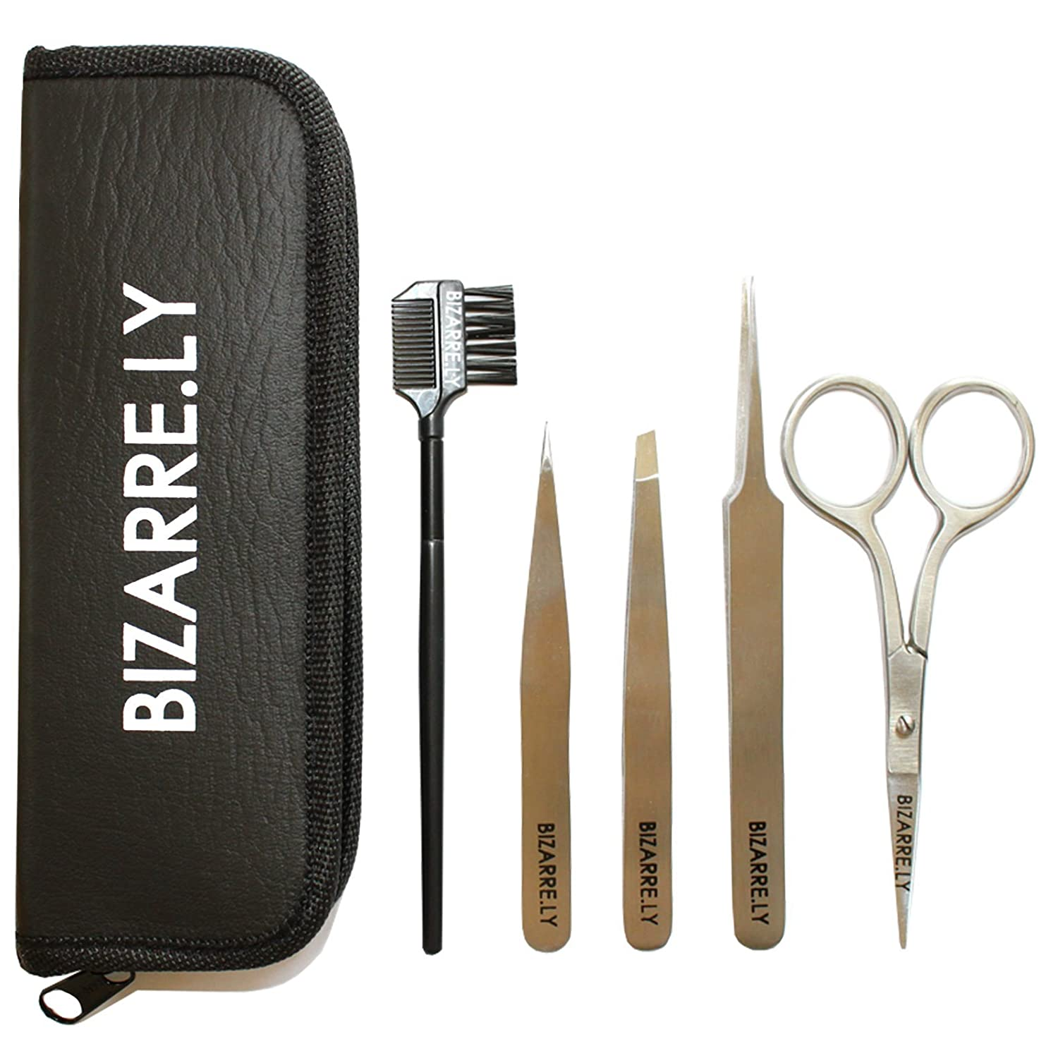 5 Piece Stainless Steel Eyebrow Grooming Kit with Case by Bizarre.ly - Professional Tweezers, Scissors and Brush Kit - For Shaping, Trimming and False Eyelash Extensions/Application