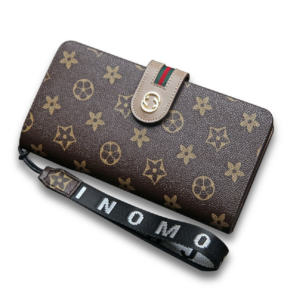 Brown2 van Persie Women Flower Designer Retro Wallet RFID Purse Handbag Wristlet with Zipper
