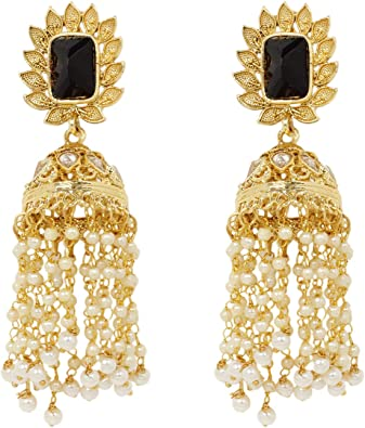 Indian Bollywood Polki Wedding Gold Tone Jhumki Meenakari Chandbali Earrings Set