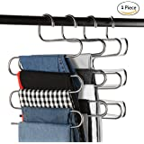 Multi-Purpose Pants Hangers, CEISPOB S-type 5 Layers Stainless Steel Clothes Hangers Storage Pant Rack Closet Space Saver for Trousers Jeans Towels Scarf Tie (1 pack)