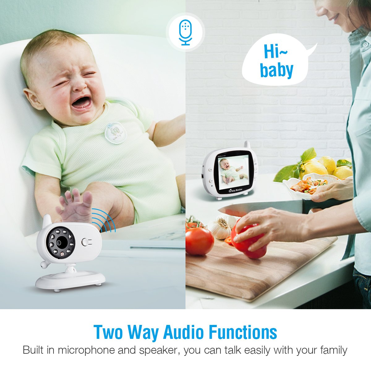 Powerextra Baby Monitor 2.4GHz Wireless Digital 3.5\
