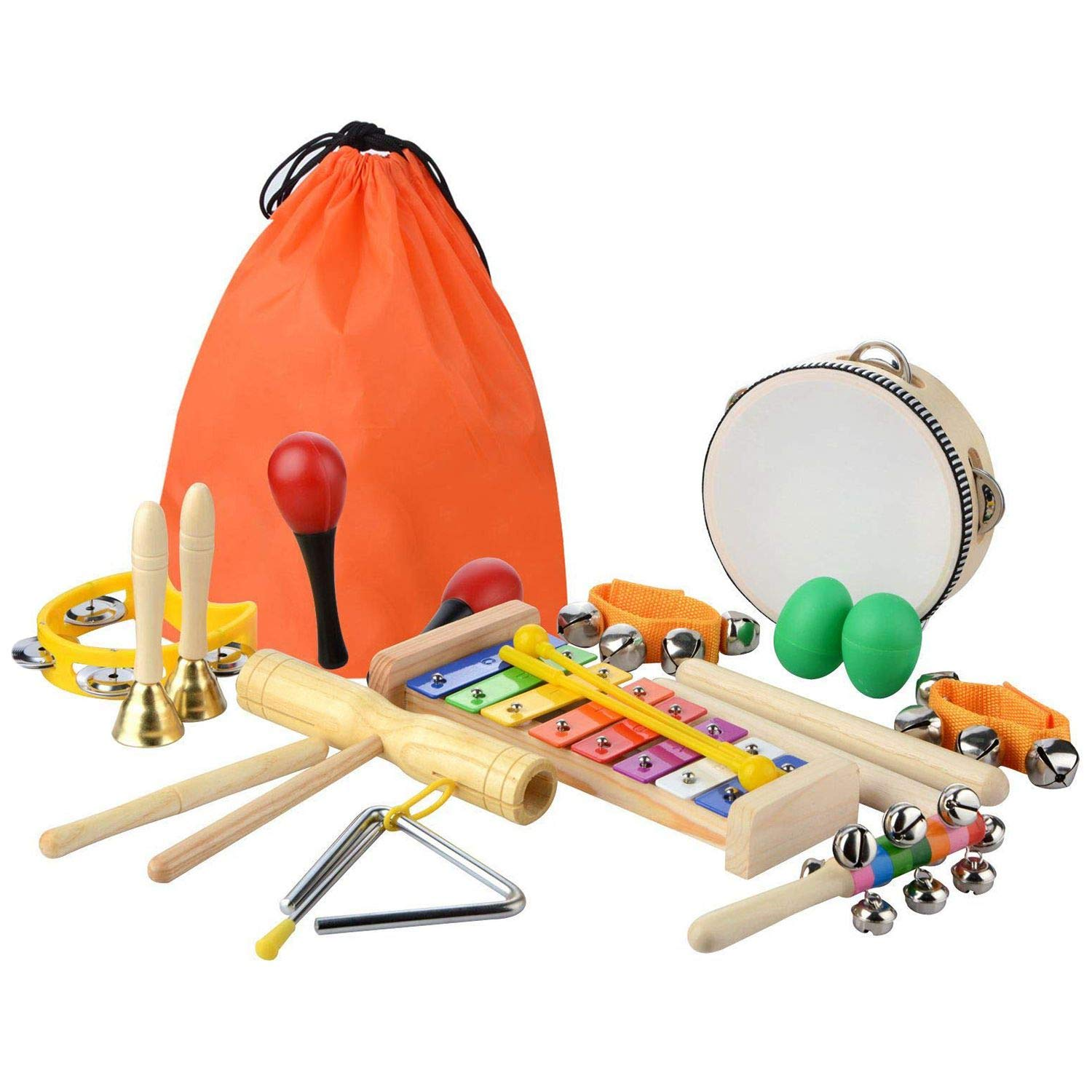 GonPi |Toy Musical Instruments | 1 Piece 20 Pcs Toddler & Baby Musical Instruments Set - Percussion Toy Fun Toddlers Toys Wooden Xylophone Glockenspiel Toy Rhythm Band by GonPi