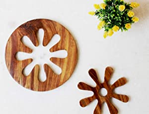2 In 1 Wooden Trivets for Hot Pots and Pans Tea Pot Holders Hot Pads Modern Farmhouse Kitchen Counter Décor | 8 Inch Dia (2in1)