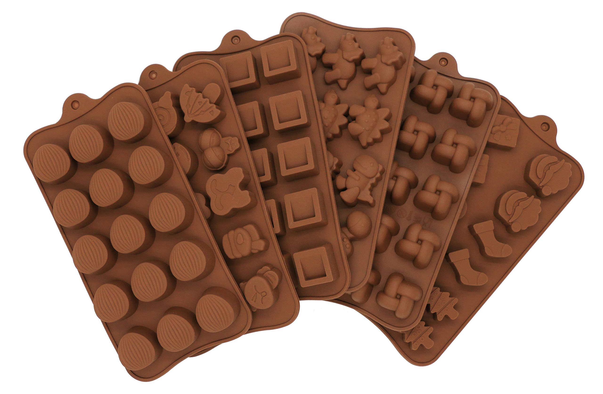 PONECA Chocolate Silicon Molds - Set Of 6 Chocolate Molds Non-stick Chocolate, Jelly and Candy Mold DIY mold 6PCS