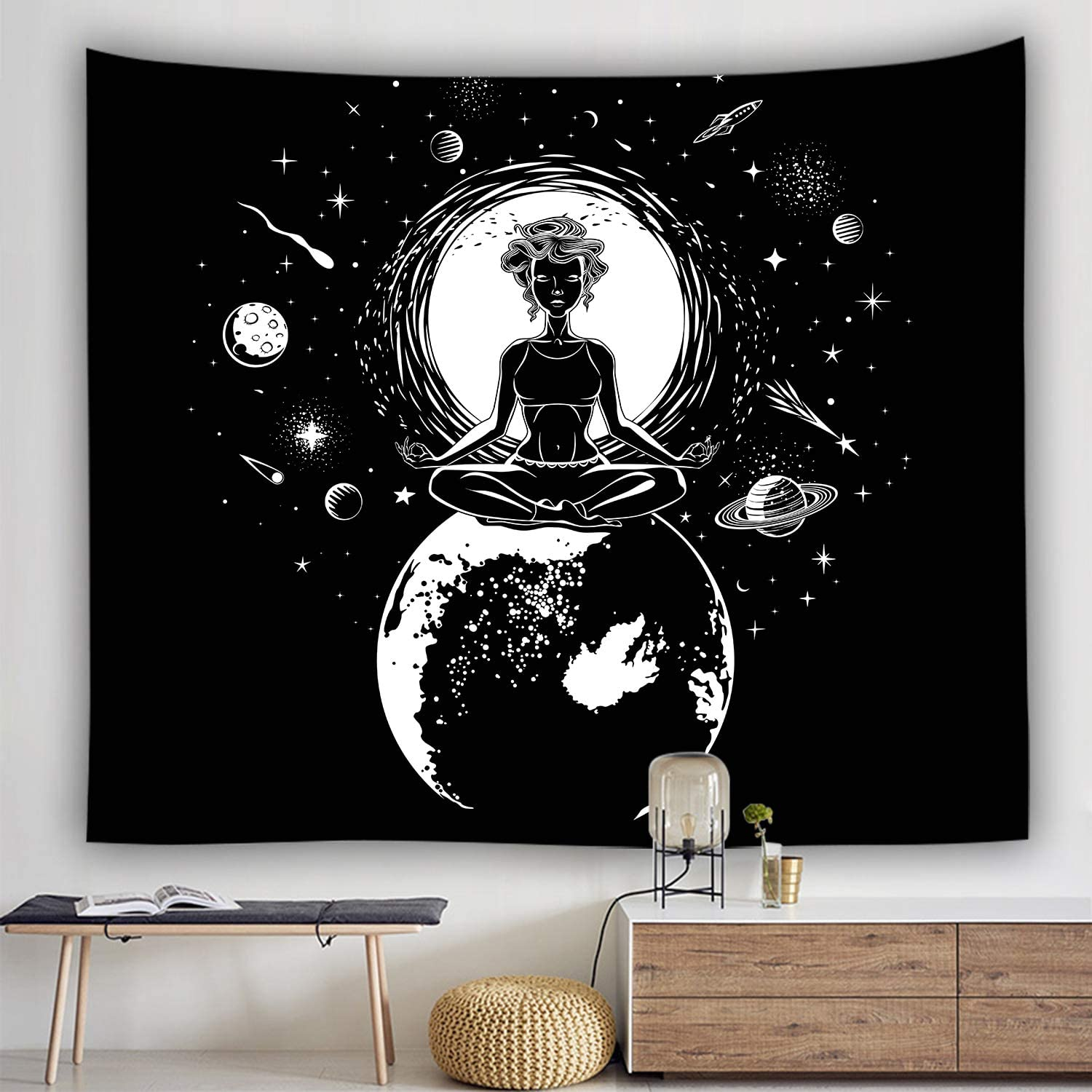 Ulogu Chakra Tapestry Wall Hanging Yoga Meditation Tapestry for Bedroom Indian Hippie Aesthetic Tapestry Wall Hanging Decor Moon Mystic Planet Wall Black and White Tapestry Decoration for Living Room