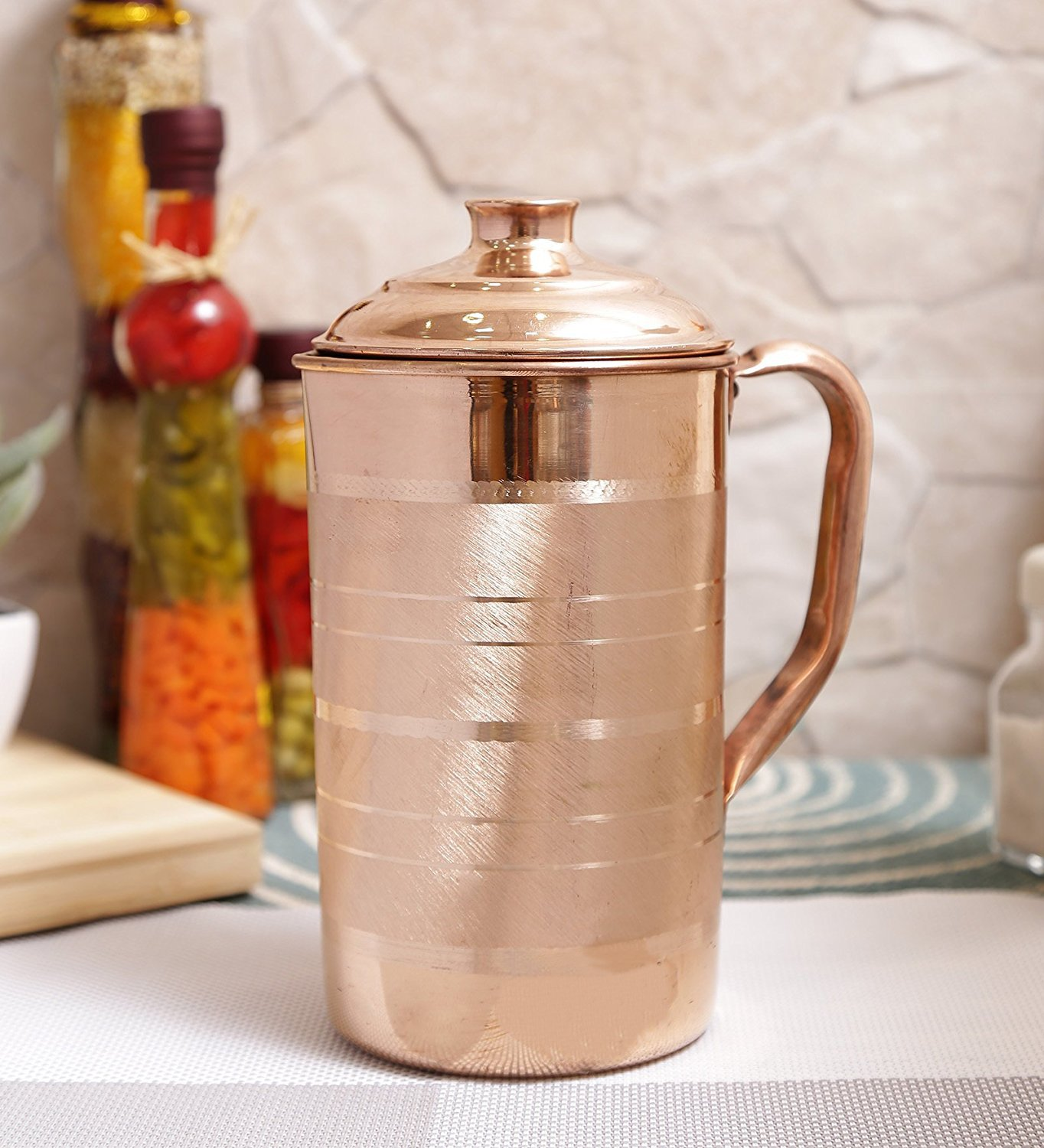eCraftIndia Pure Copper Jug Pitcher for regular use of Drinking water, Yoga & Health Benefits, 1700 ML