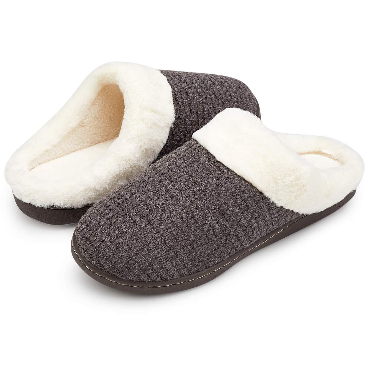 VIFUUR Women's Indoor Slippers House Comfort Memory Foam Plush Anti-Slip Slipper Outdoor Shoes Khaki Gray-42/43