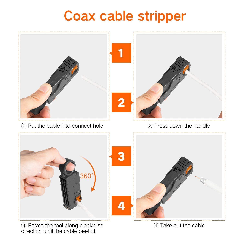 pelacables con conectores F RG6 RG59# TCYJGJ. Kit de herramientas de compresi/ón coaxial para cables