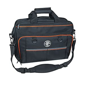 Tool Bag, Tradesman Pro Tech Bag with Laptop Pocket, Black and Orange Klein Tools 55455M