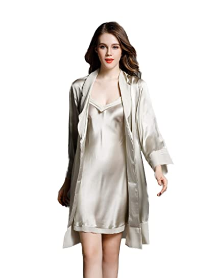 1fd341505210 CLC Women s Pure Mulberry Silk Pajama Set Nightgown Robe at Amazon Women s  Clothing store
