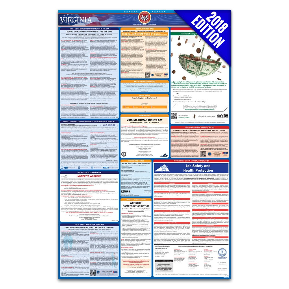 2018 Virginia Labor Law Poster – State & Federal Compliant – Laminated