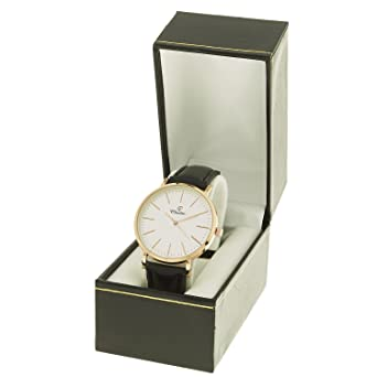02319dc8e11a montre-concept Women s Analog Watch - Black Leather Strap Round Dial White  Background Rose Gold Colour - mab-2-00283  Amazon.co.uk  Watches