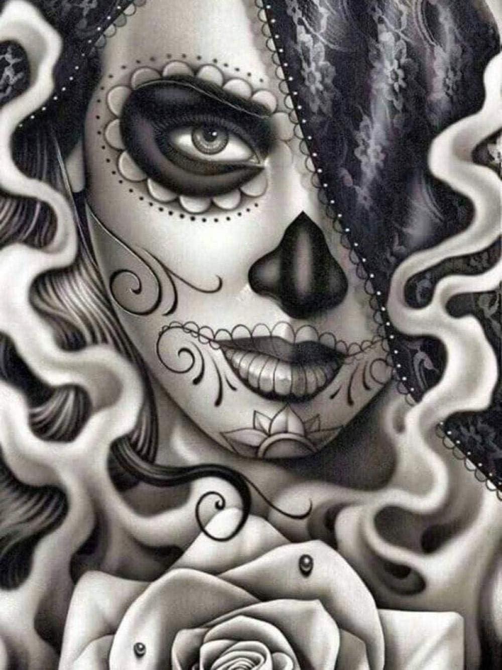 5D DIY diamond painting skull embroidery full square  round diamond cross stitch rhinestone mosaic painting home decoration gift
