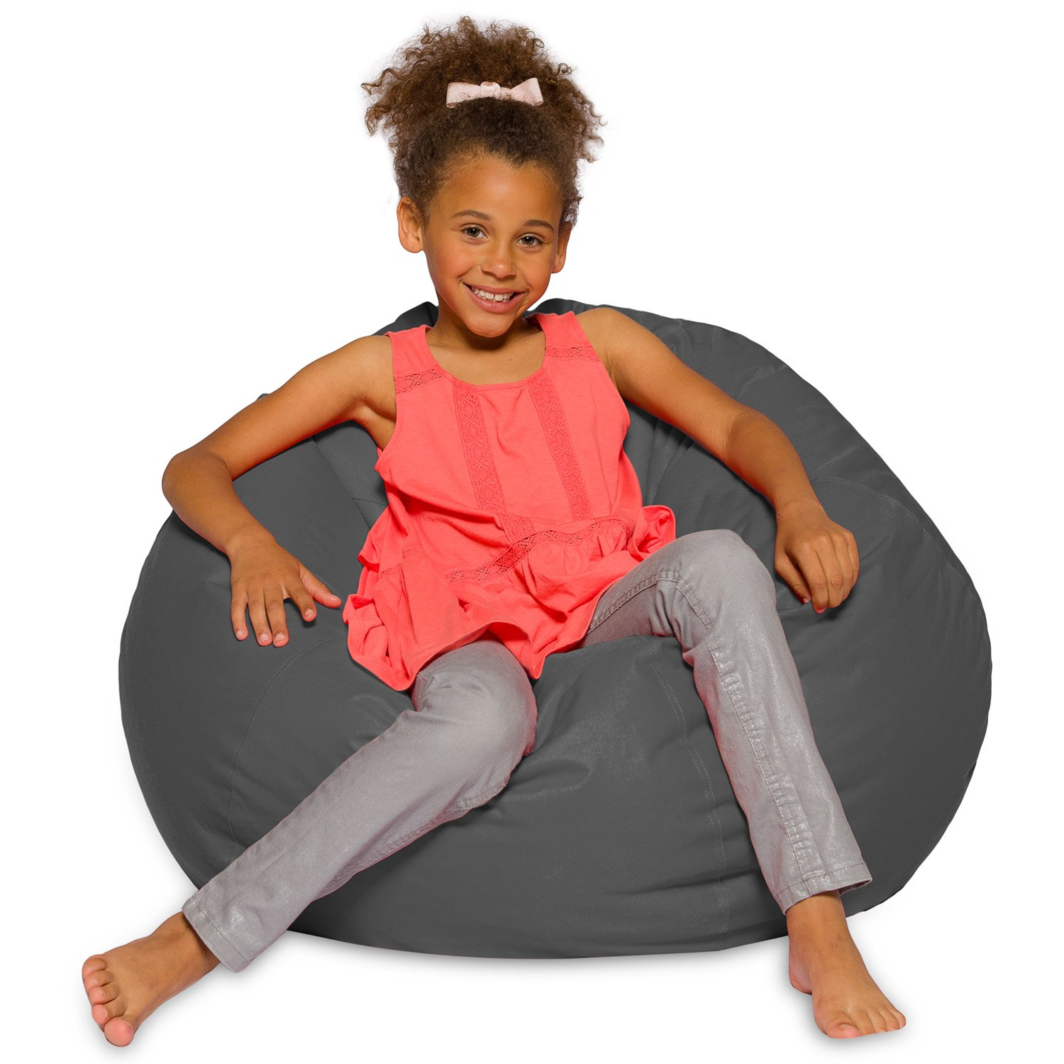 Big Comfy Bean Bag Chair: Posh Large Beanbag Chairs for Kids, Teens and Adults - Polyester Cloth Puff Sack Lounger Furniture for All Ages - 27 Inch - Heather Gray Posh Beanbags AMZ-27-HT-GRY